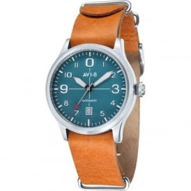 AVI-8 AV-4021-06 Flyboy Turquoise & Tan Leather Nato AutomaticWatch