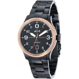 AVI-8 AV-4021-14 Flyboy Rose Gold & Black Steel Automatic Watch