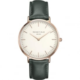 Rosefield B-W-GE-R Bowery Rose Gold & Green Leather Ladies Watch