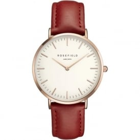 Rosefield B-W-RE-RO Bowery Rose Gold & Red Leather Women's Watch