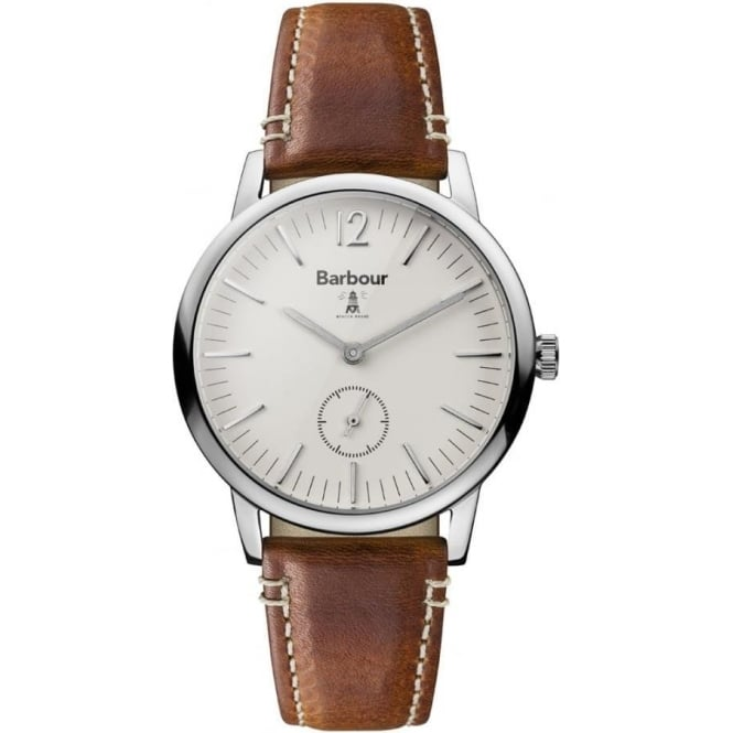 Barbour BB041BGBR Seaton White & Brown Leather Men's Watch