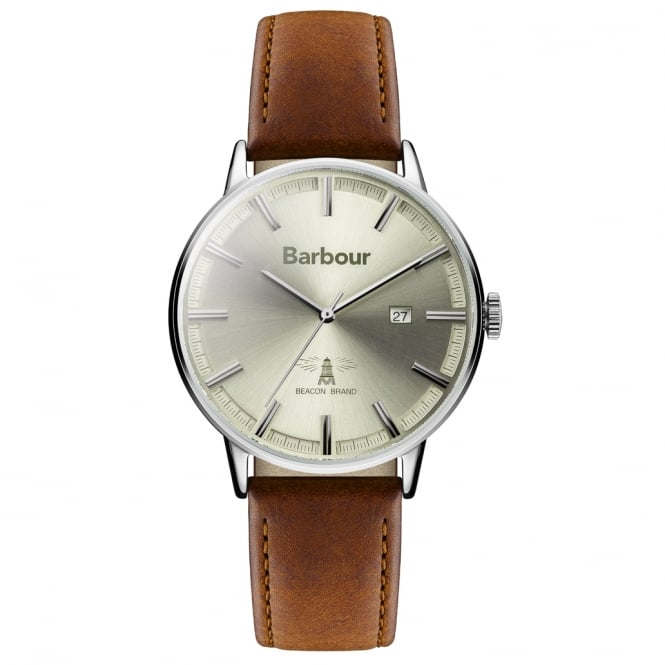 Barbour BB043CMBR Whitburn Silver & Brown Leather Men's Watch