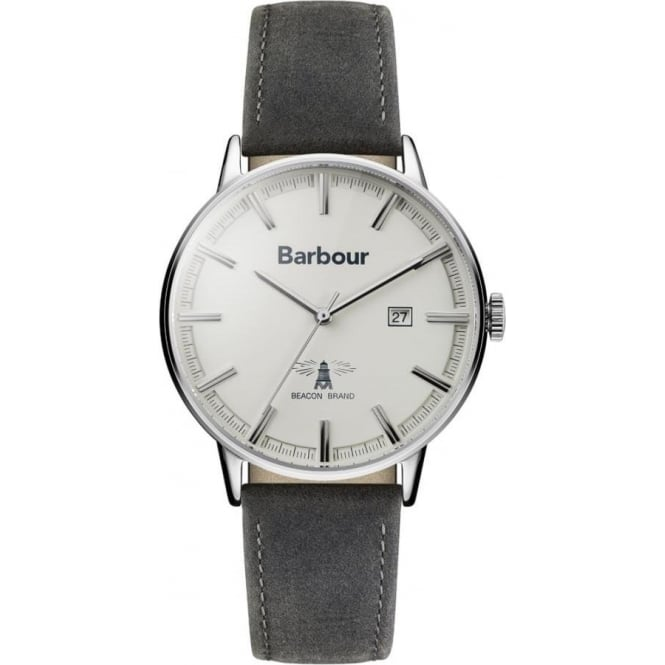 Barbour BB043WHGY Whitburn Cream & Grey Leather Men's Watch