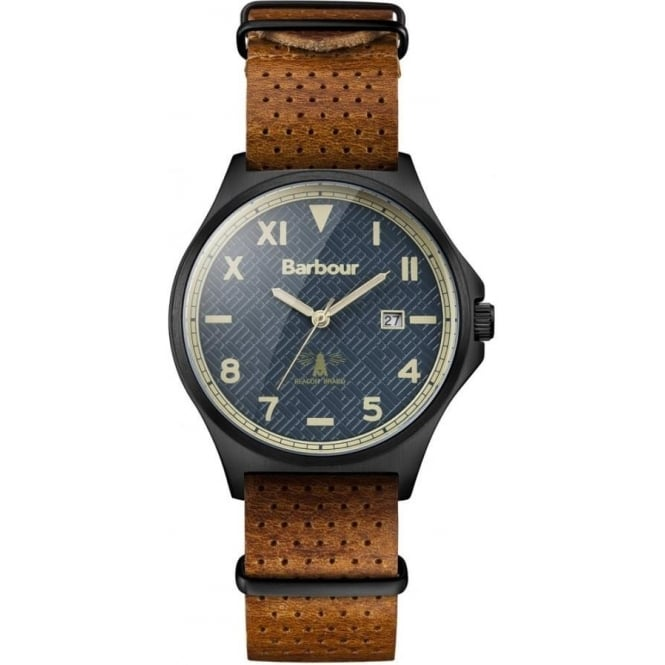 Barbour BB047GNTN Marsden Blue & Dark Tan Leather Men's Watch