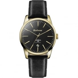 Barbour BB049GDBK Leighton Gold & Black Leather Watch