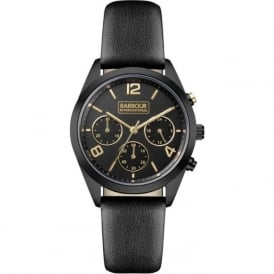 Barbour BB012BKBK Cleadon Ladies Black Leather Chronograph Watch