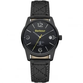 Barbour BB026BKBK Alanby Mens Black Leather Watch