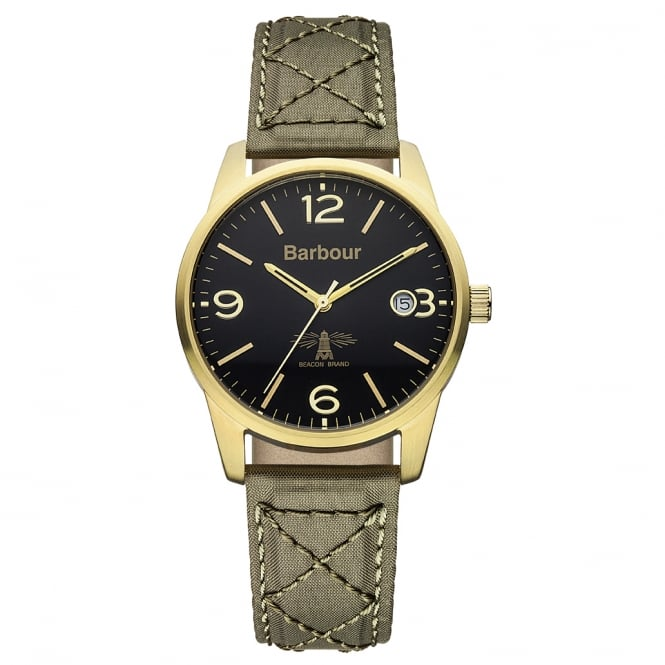 Barbour BB026GRGR Alanby Fabric & Gold Watch