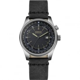 BB038SLBK Boldon Mens Black Leather Watch