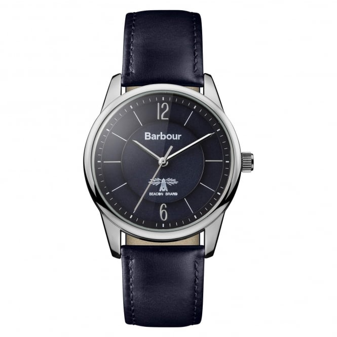 Barbour BB049BKBL Mortimer Silver & Navy Blue Leather Watch