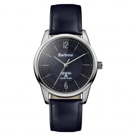 BB049BKBL Mortimer Silver & Navy Blue Leather Watch