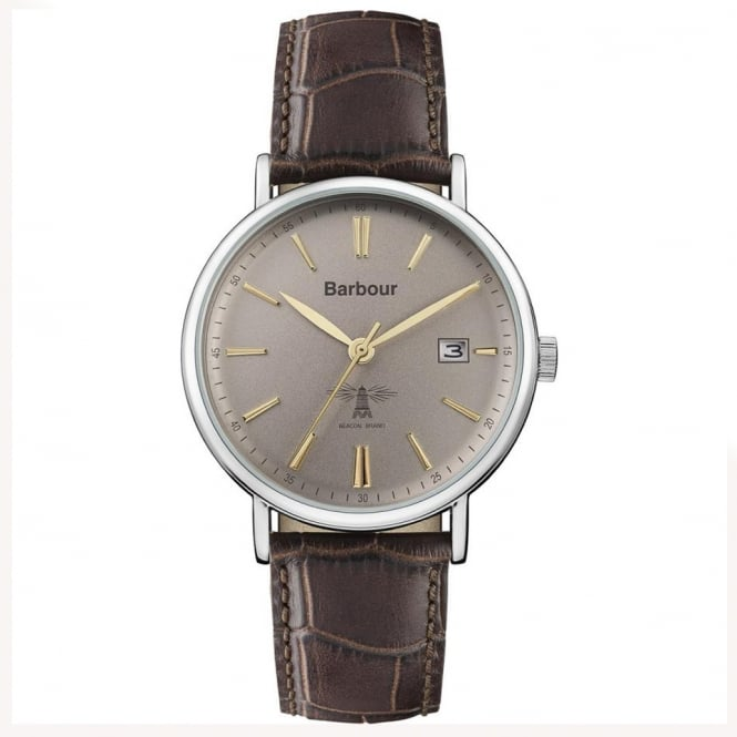 Barbour BB069GYBR Bamburgh Textured Brown Leather Mens Watch