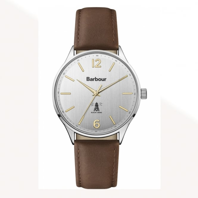 Barbour BB079SLBR Jesmond Stainless Steel Silver & Brown Leather Watch