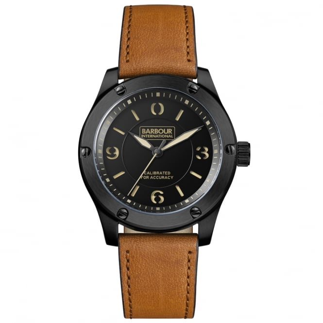 Barbour International BB063BKTN Hartford Mens Leather Watch