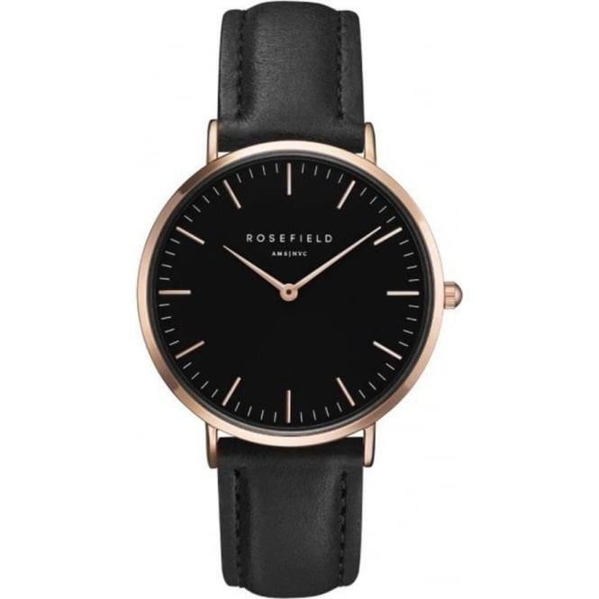 Rosefield BBBR-B11 Bowery Rose Gold & Black Leather Women's Watch