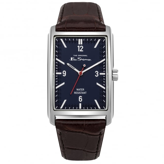 Ben Sherman BS013UBR Silver, Navy Dial & Brown Textured Leather Men's Watch