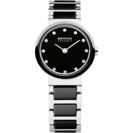 Bering 10725-742 Ladies Black & Silver Ceramic Stainless Steel