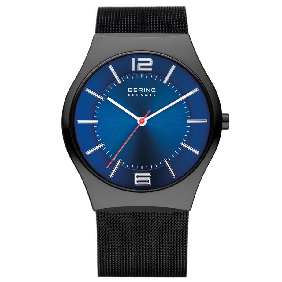 bering watches 32039 447 black ceramic steel mesh bering