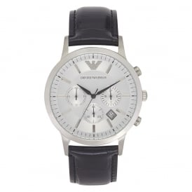 Black Leather Mens Chronograph Watch AR2432