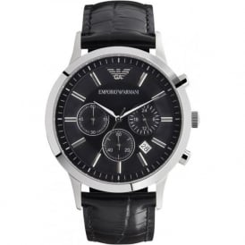 Black Leather Mens Chronograph Watch AR2447