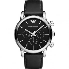 Armani Watches Black Leather & Stainless Mens Chronograph Watch AR1733