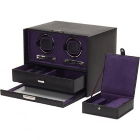 Blake Black Pebble Leather Double Watch Winder