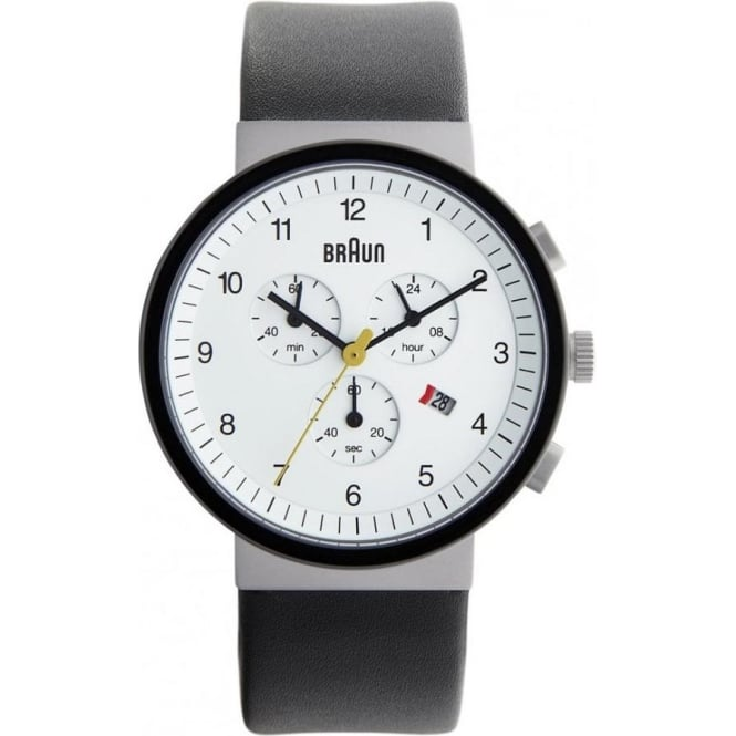Braun Watches Black Leather Mens Chronograph Watch BN0035WHSLBKG