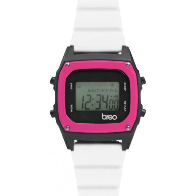 Breo Watches B-TI-BIN83 Binary White and Pink Digital Watch
