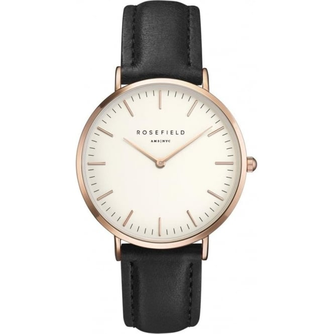 Rosefield BWBLR-B1 Bowery Rose Gold & Black Leather Women's Watch