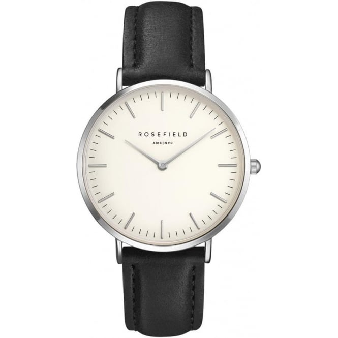 Rosefield BWBLS-B2 Bowery Silver & Black Leather Women's Watch
