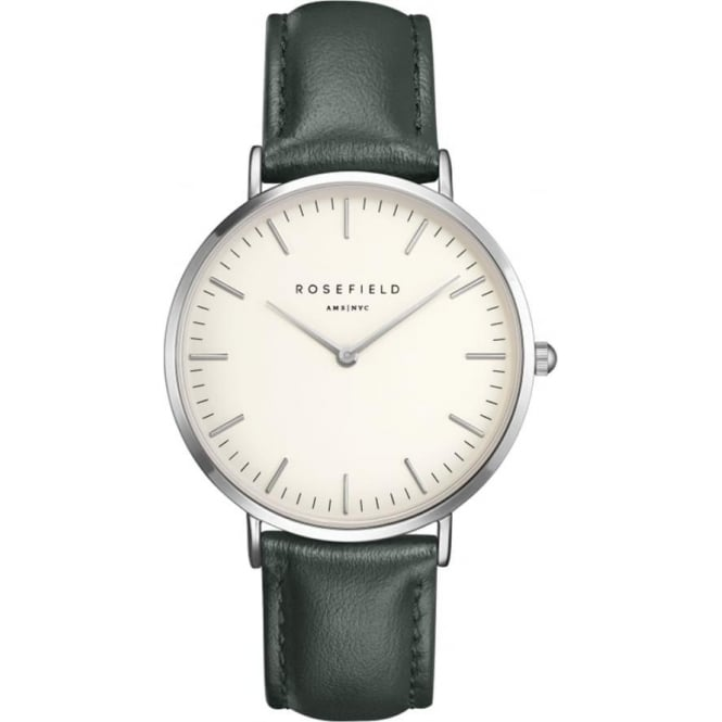 Rosefield BWGES-B17 Bowery Silver & Green Leather Ladies Watch