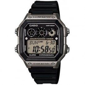 Casio Watches AE-1300WH-8Avef Grey & Black Rubber Men's Retro Watch