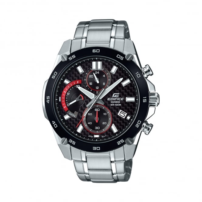 Casio Watches EFR-557CDB-1AVUEF Edifice Black & Silver Stainless Steel Watch