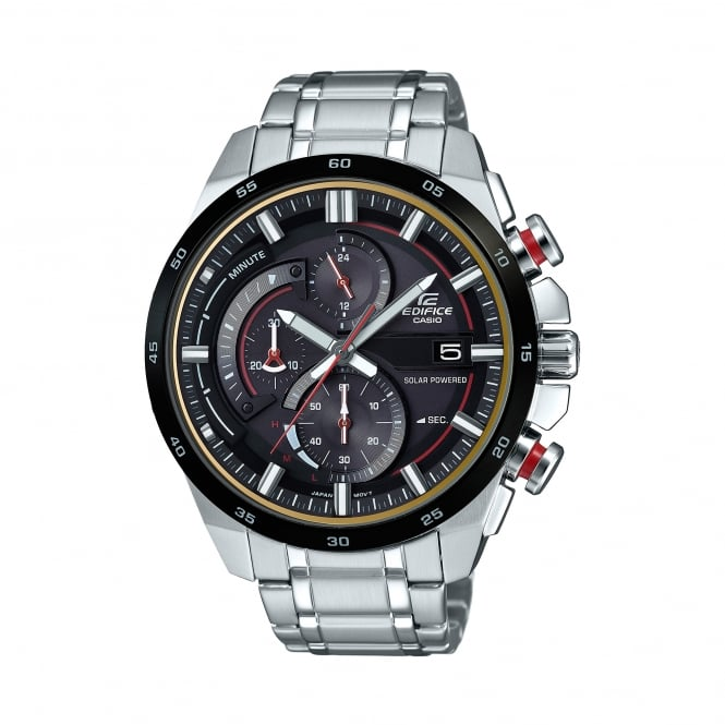 Casio Watches EQS-600DB-1A4UEF Edifice Black & Silver Stainless Steel Tough Solar Watch