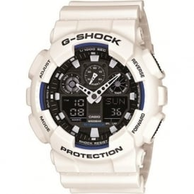 G-Shock GA-100B-7AER White Alarm Chronograph Watch