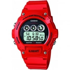 Casio Watches W-214HC-4AVEF Red Sports Chronograph Watch