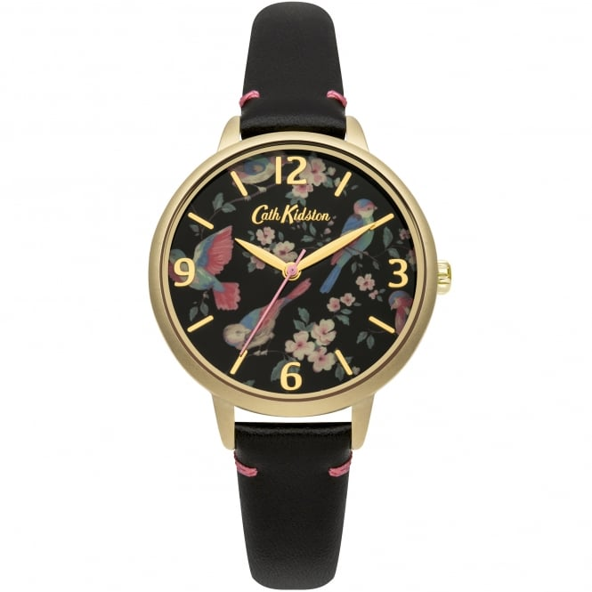 Cath Kidston CKL001BG British Birds Gold & Black Leather Ladies Watch