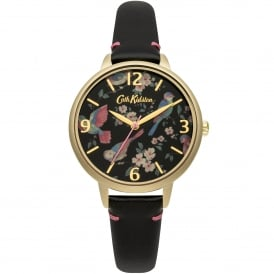 CKL001BG British Birds Gold & Black Leather Ladies Watch
