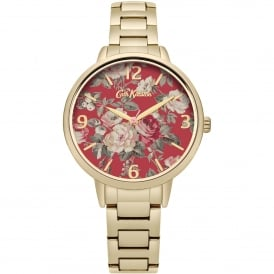 CKL001GM Garden Rose Red Floral & Gold Stainless Steel Ladies Watch
