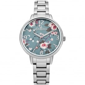 CKL001SM Trailing Rose Blue Floral & Silver Stainless Steel Ladies Watch