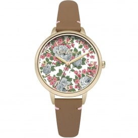 CKL001TG Floral Gold & Tan Leather Ladies Watch