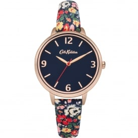 CKL002URG Mews Ditsy Rose Gold & Navy Floral Leather Ladies Watch