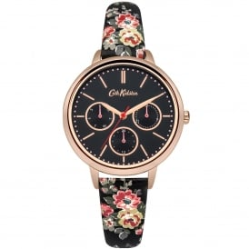 CKL003BRG Kingswood Rose Floral Rose Gold & Black Leather Ladies Watch