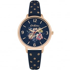 CKL004URG Windflower Bunch Polka Dot Rose Gold & Navy Leather Ladies Watch