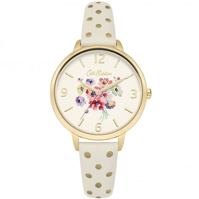 Cath Kidston CKL004WG Mallory Bunch Polka Dot Gold & Cream Leather Ladies Watch