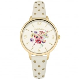 CKL004WG Mallory Bunch Polka Dot Gold & Cream Leather Ladies Watch