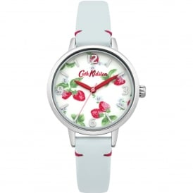 CKL006WUS Strawberries Silver & Light Blue Leather Ladies Watch