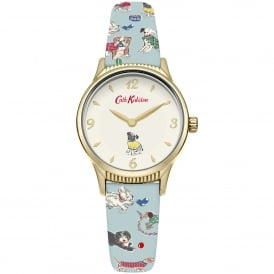 CKL011UG Rotating Dog Gold & Blue Leather Ladies Watch