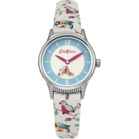 CKL011US Rotating Little Birds Silver & Cream Leather Ladies Watch