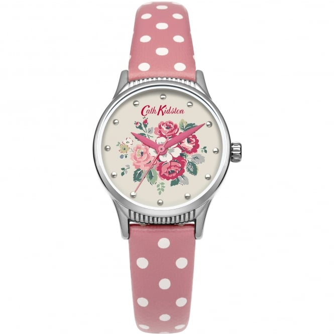 Cath Kidston CKL012PS Forest Bunch Silver & Pink Polka Dot Leather Ladies Watch